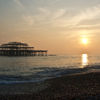sunset at the old pier brighton